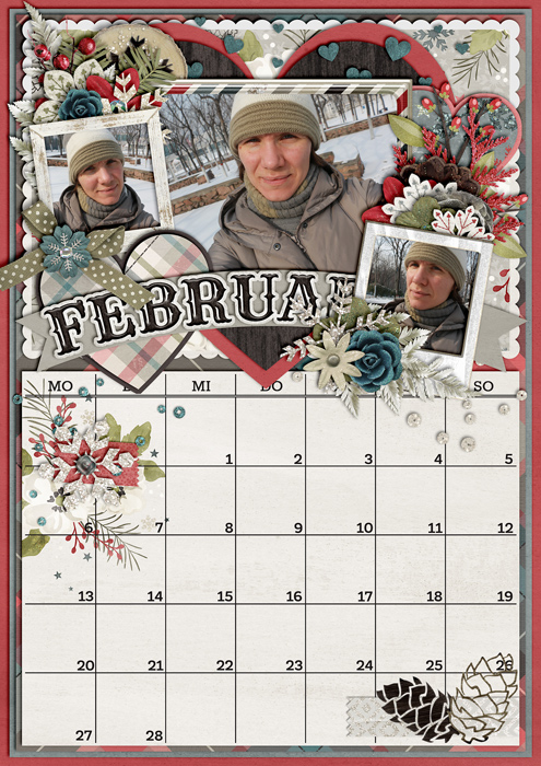 calendar 2017, digital scrapbook layout, misty hilltops designs, winter