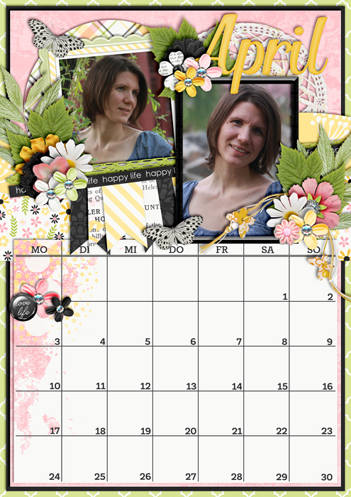 calendar 2017, digital scrapbook layout, misty hilltops designs, spring