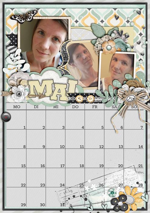 calendar 2017, digital scrapbook layout, mistyhilltops.com, spring