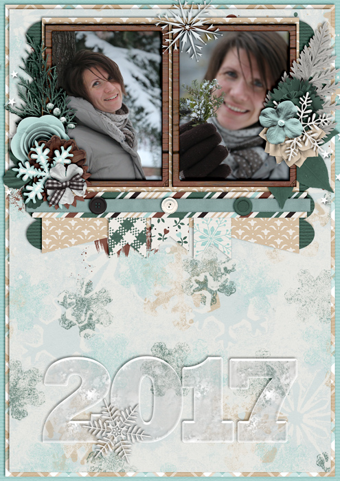 calendar 2017, digital scrapbook layout, misty hilltops design, winter
