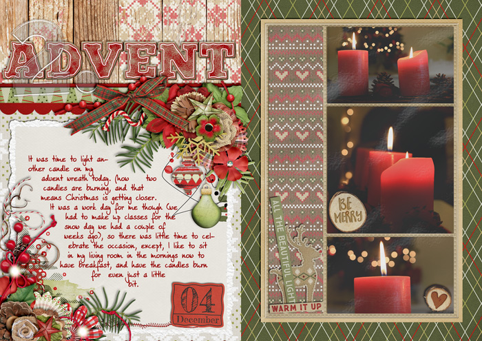 document christmas, december daily album, digital scrapbook layout