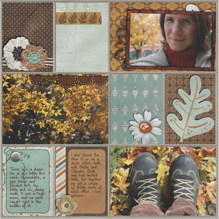 project life, digital scrapbook layout, autumn