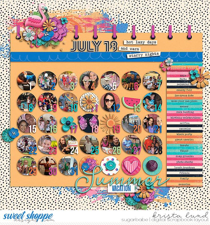 Our Summer Calendar July 2018