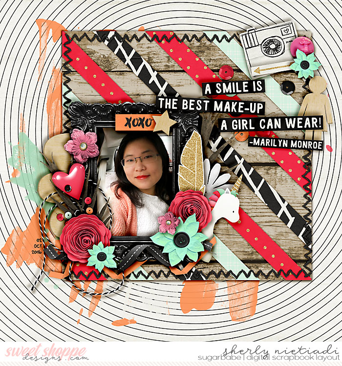 smile by nietis | The orange (or any color you are focusing on really_) doesn't have to be the main color of your page. The orange\peach watercolor paints between the black and white background and the rest of the layout really pops. It also causes all the layers, clusters, and photos not to get lost in the spiral of the background.