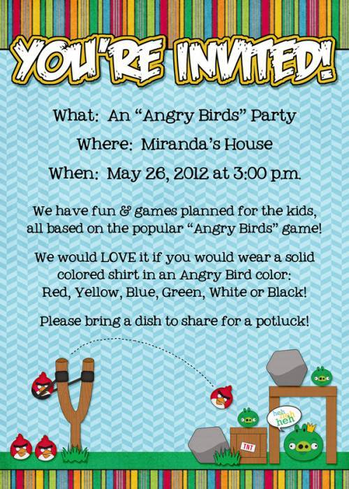 Party Theme ANGRY BIRDS Sweet Shoppe Community – Angry Birds Party Invitations