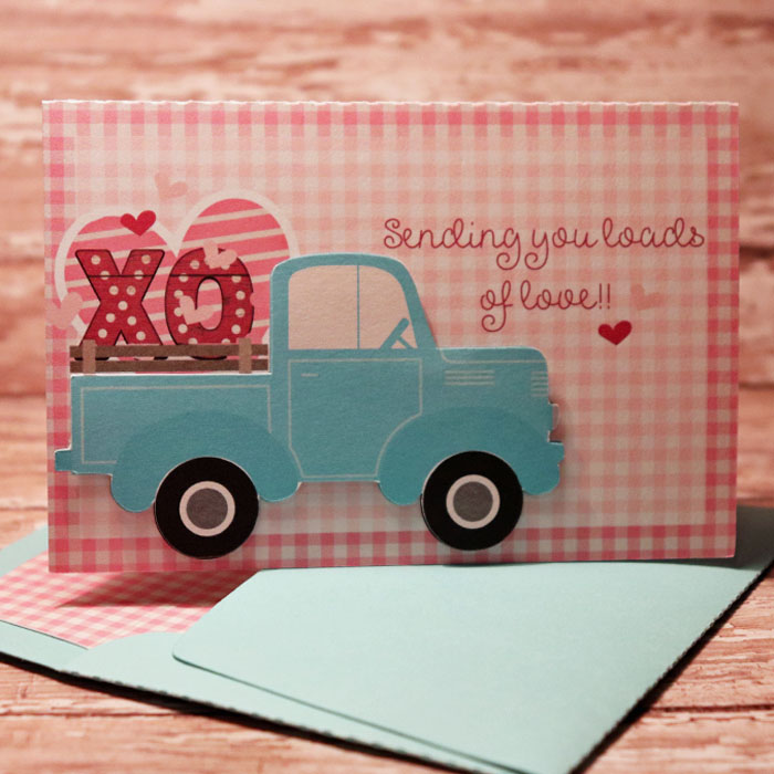 Loads of Love 3d card with matching envie