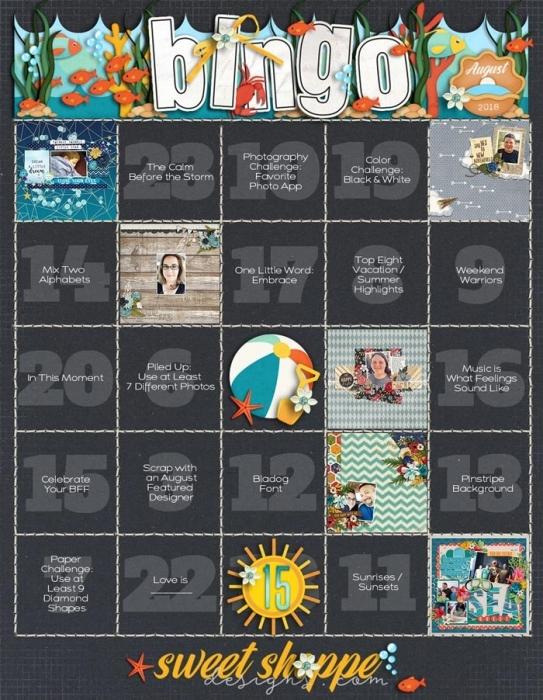 August 2018 Bingo Board