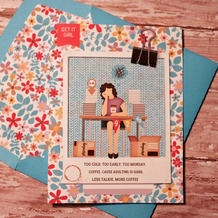 Manic Monday card with matching envie